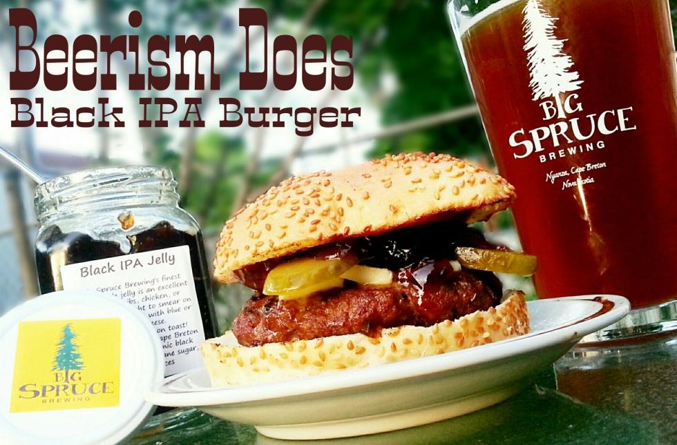 Black IPA burger